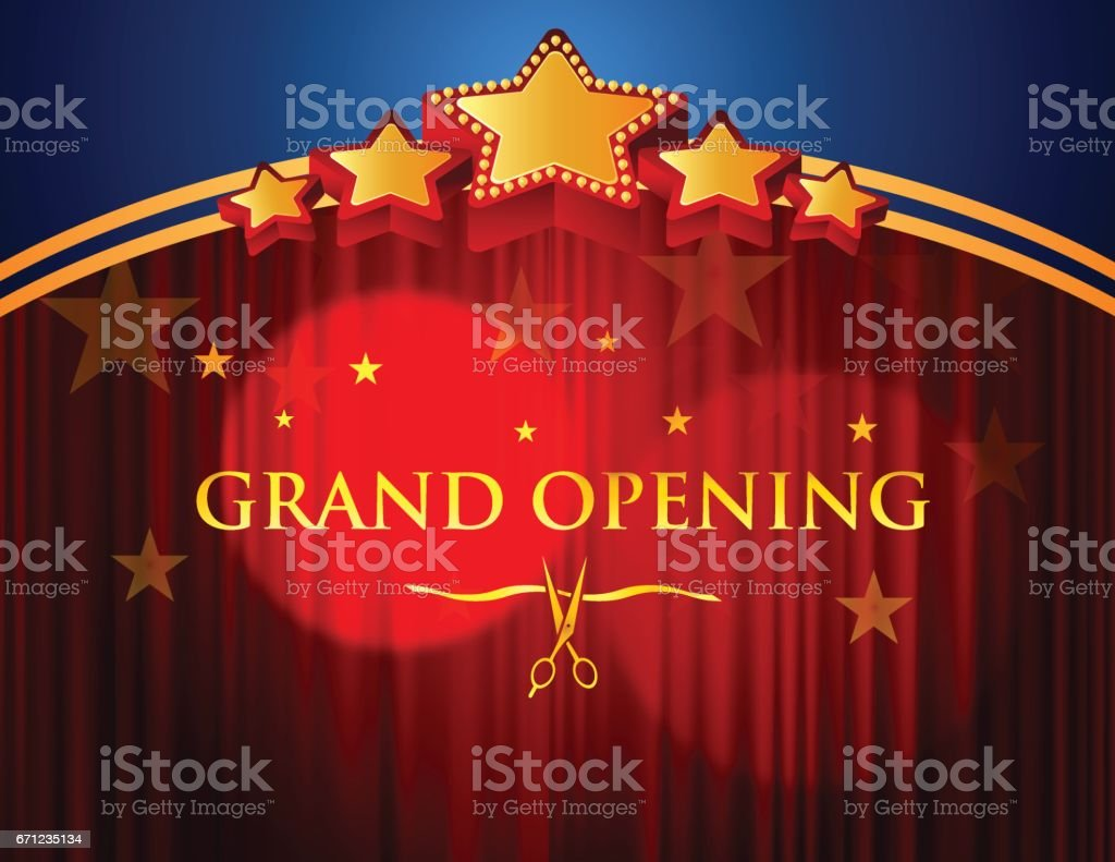 Big event red curtains with spotlight stock photo getty images - Grand Opening With Red Curtain Background Royalty Free Stock Vector Art