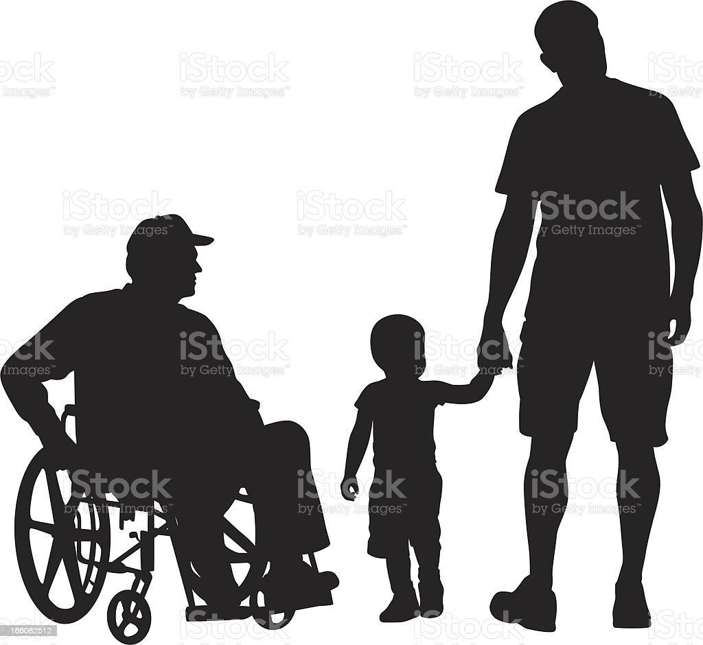 Grand Pa'n Grandson Vector Silhouette vector art illustration