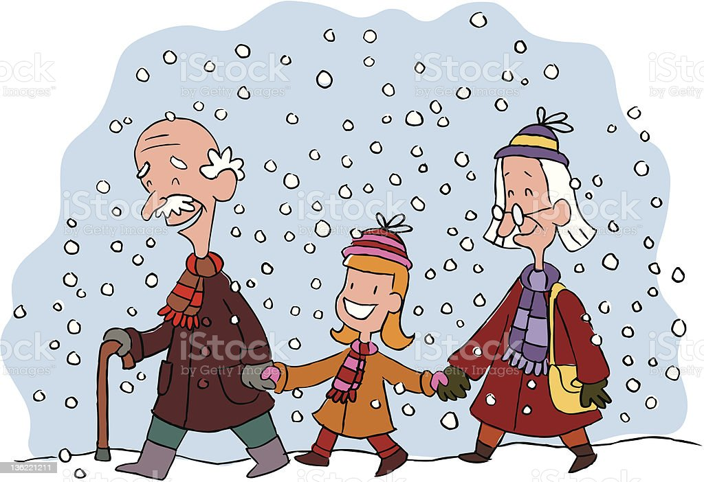 granddaughter with grandparents royalty-free stock vector art