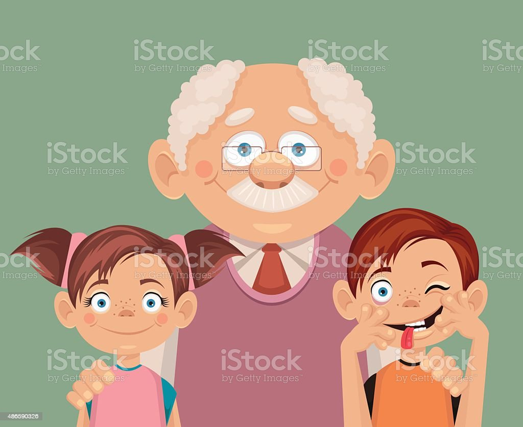 Grandfather and grandchildren. Vector flat illustration vector art illustration
