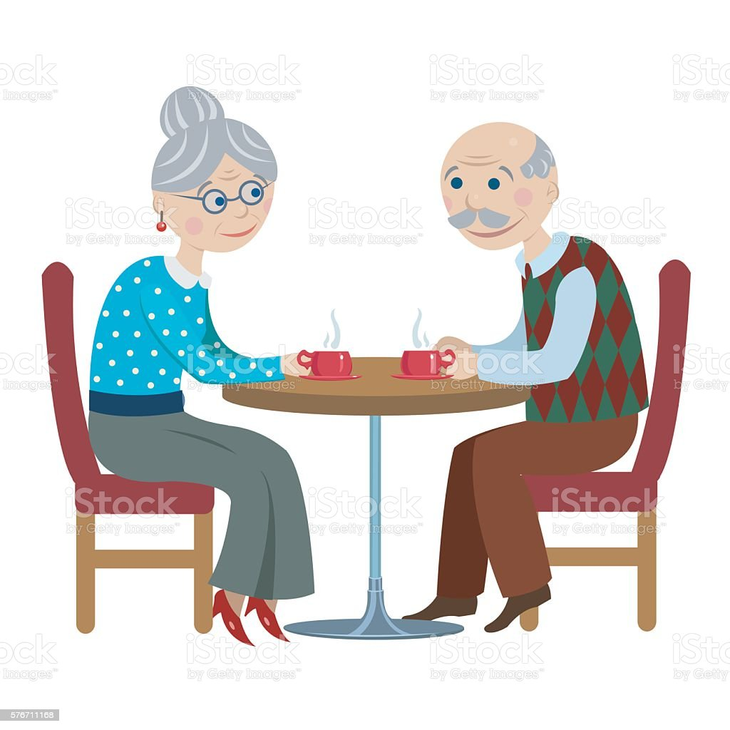 grandfather and grandmother drink tea royalty-free stock vector art