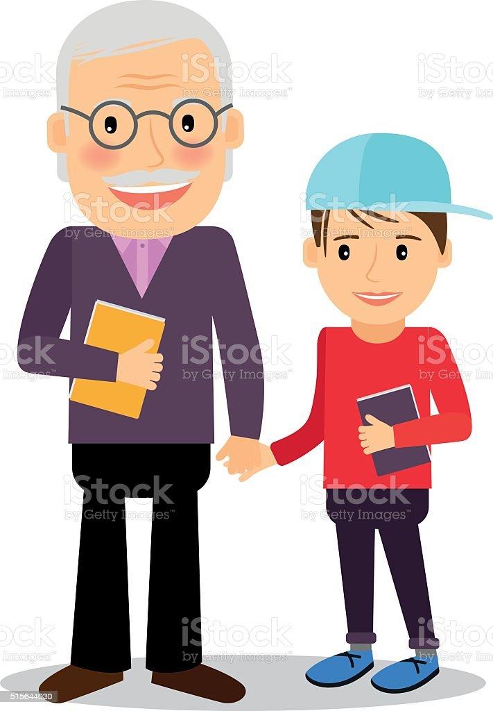 Grandfather and grandson reading books vector art illustration
