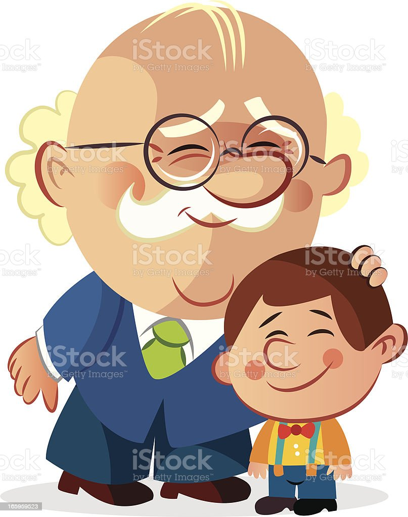 Grandfather and grandson vector art illustration