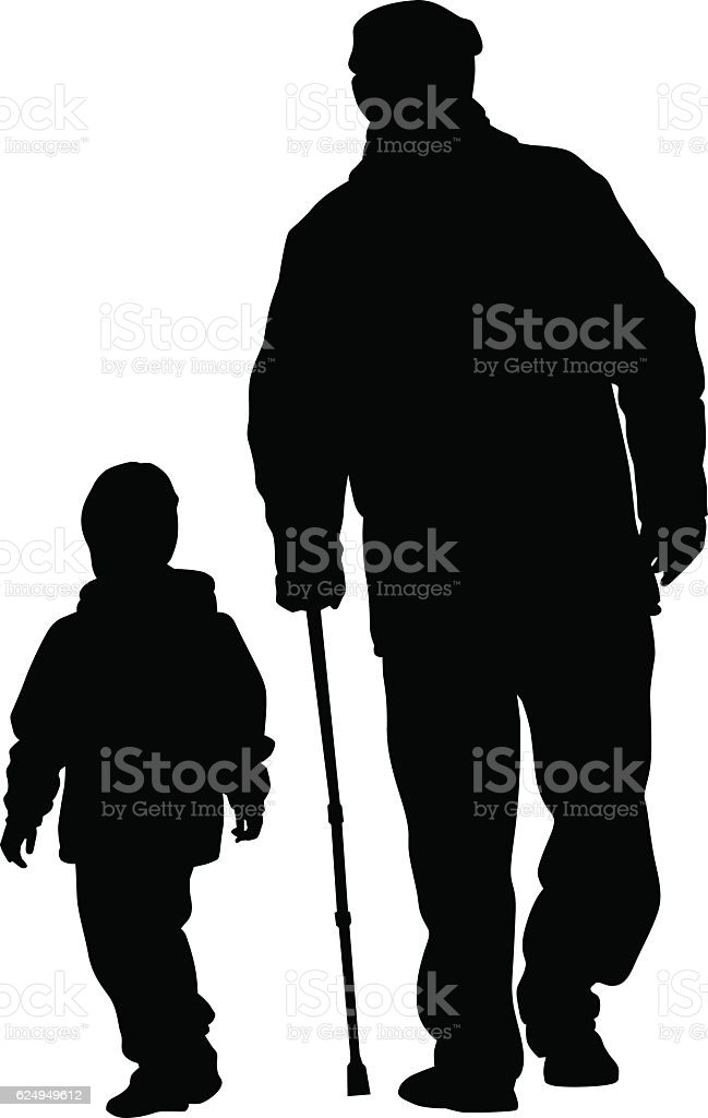 Grandfather and grandson vector art illustration
