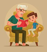 Grandfather character sit with grandson and read book story