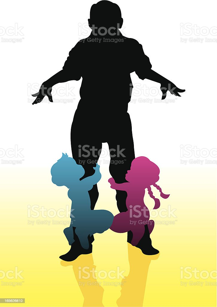 Grandfather Playing with Grandchildren royalty-free stock vector art