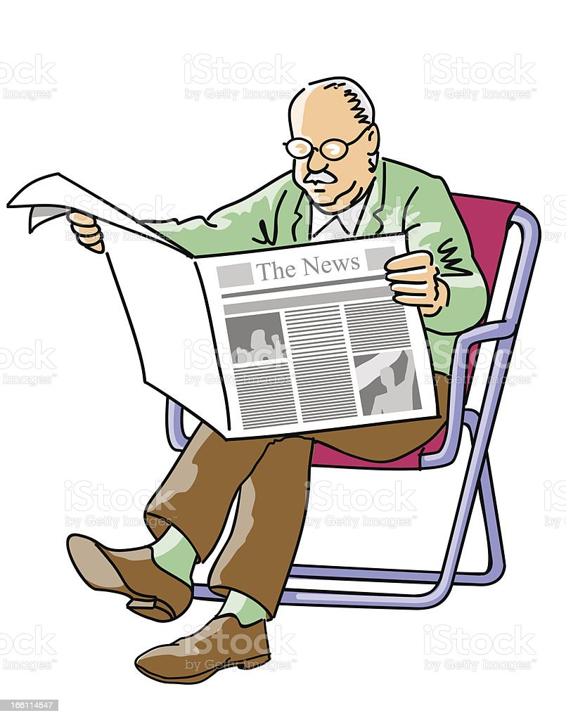 Grandfather reading the newspaper royalty-free stock vector art