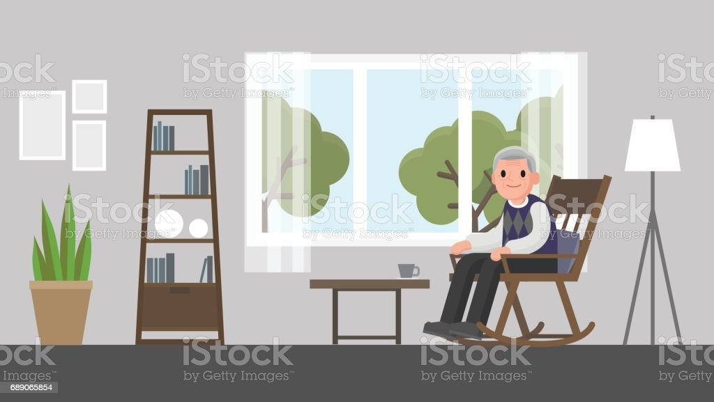 Grandfather Sitting On A Rocking Chair In Living Room Royalty Free Stock Vector Art