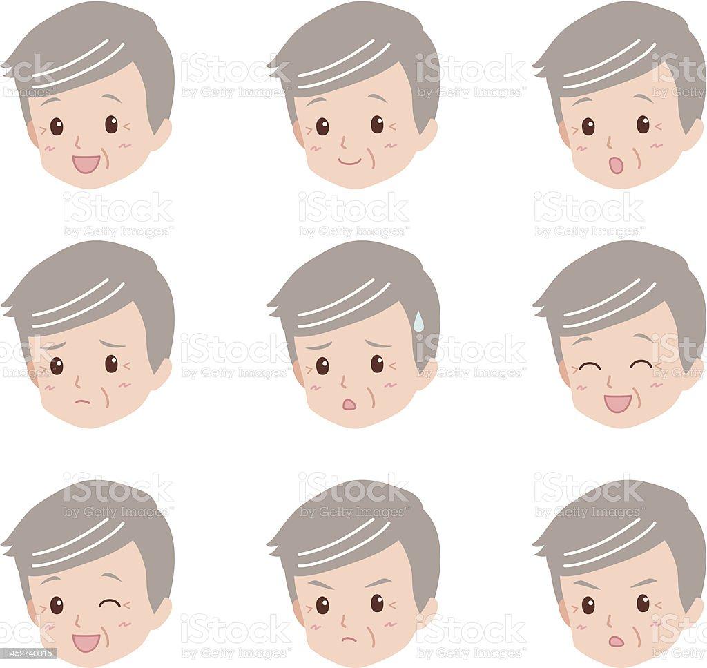 grandfather_face royalty-free stock vector art