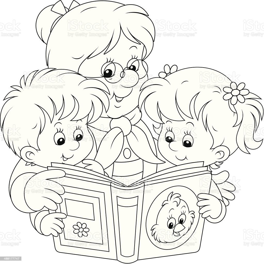 Grandma and grandchildren reading vector art illustration