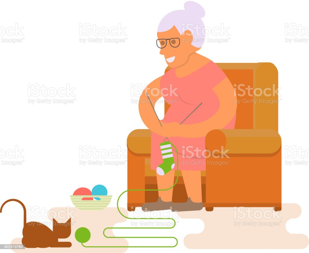 Grandma in chair vector art illustration