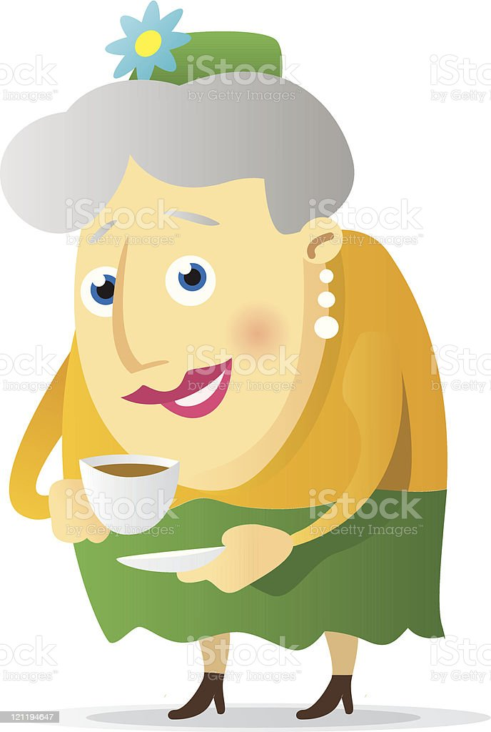 Grandma with coffee royalty-free stock vector art