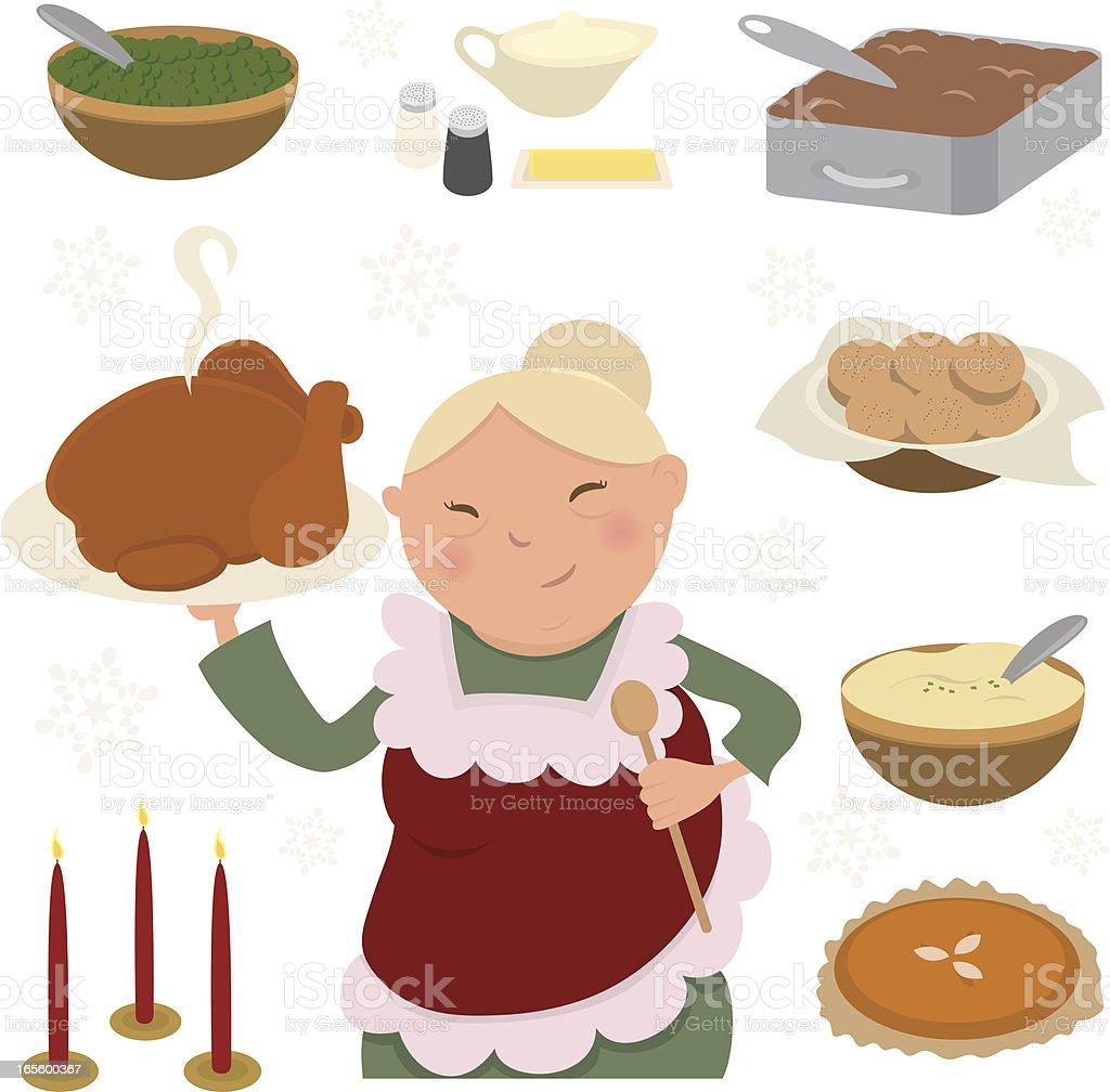 Grandma with Food Design Elements for Christmas vector art illustration