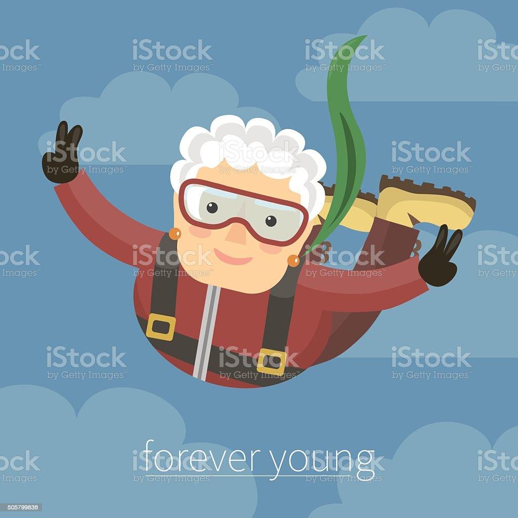 Grandmama jumping with a parachute vector art illustration
