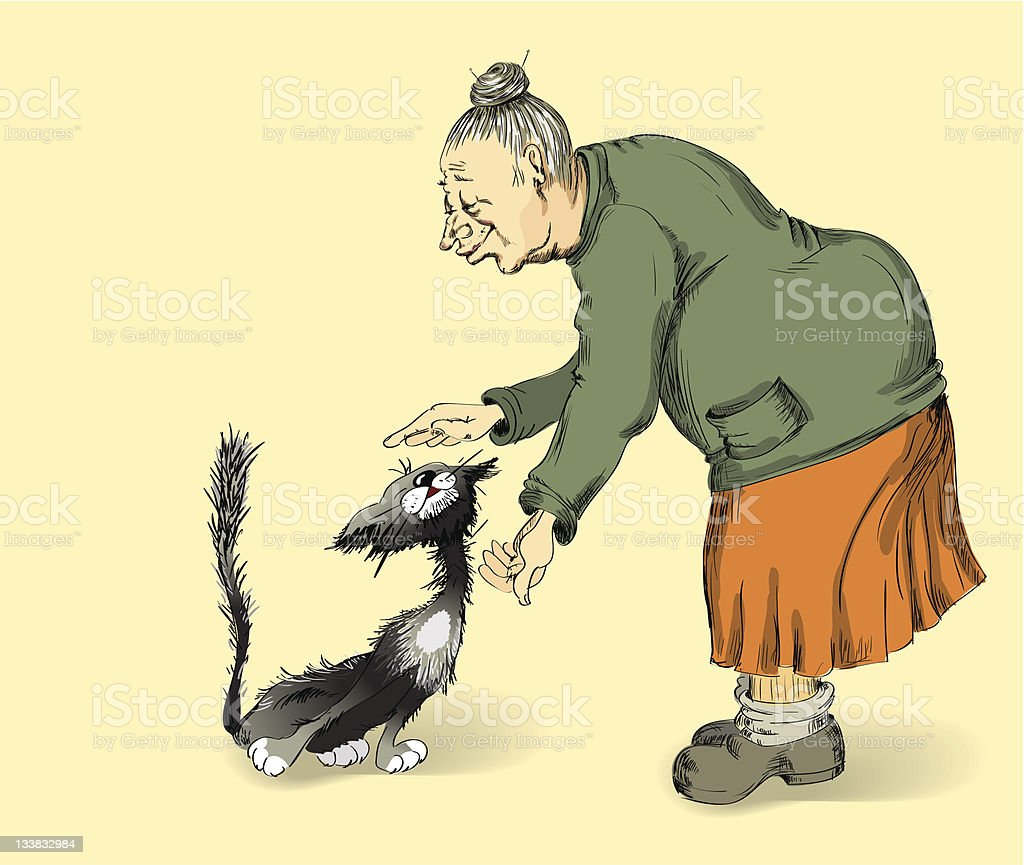 grandmother and cat royalty-free stock vector art