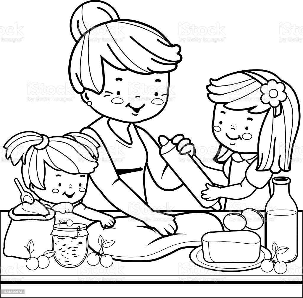 Grandmother And Children Cooking In The Kitchen Coloring Book Page