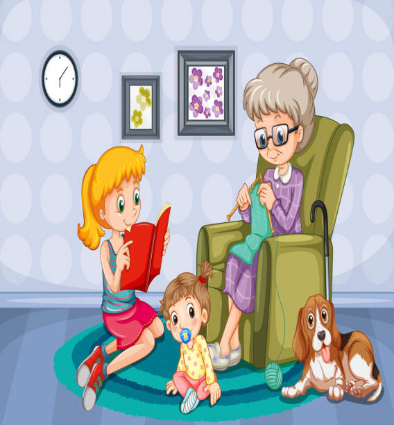 Grandmother And Children In The Room Vector Art Illustration