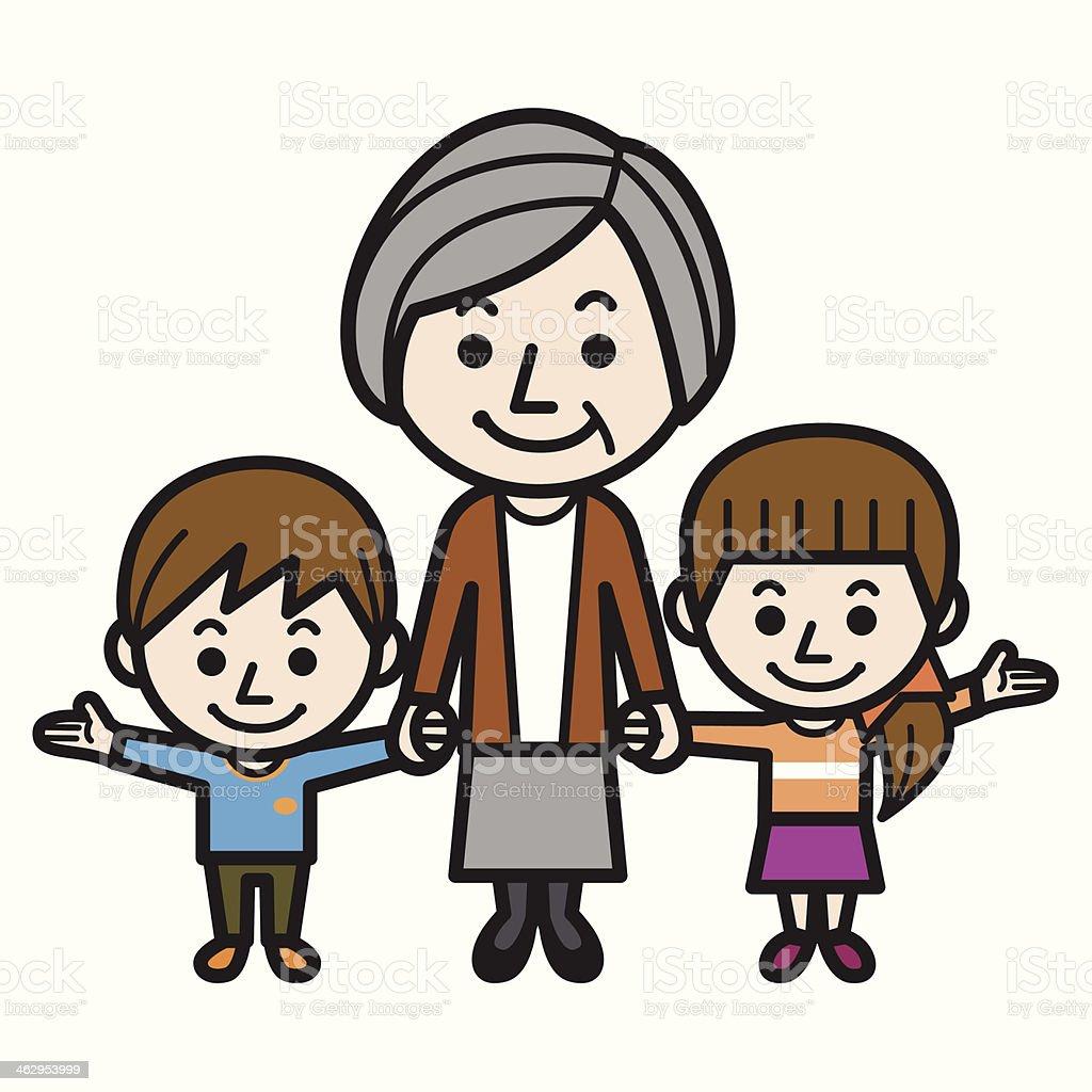 Grandmother and grandchildren royalty-free stock vector art