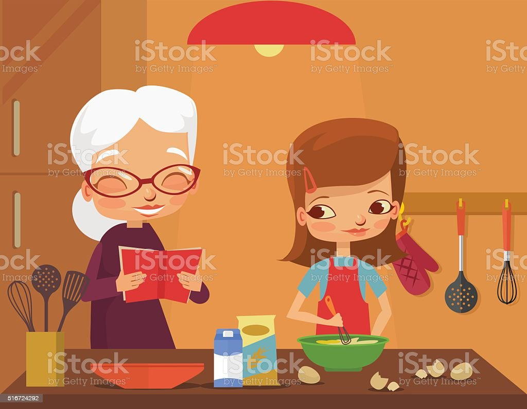 Grandmother and granddaughter cook vector art illustration