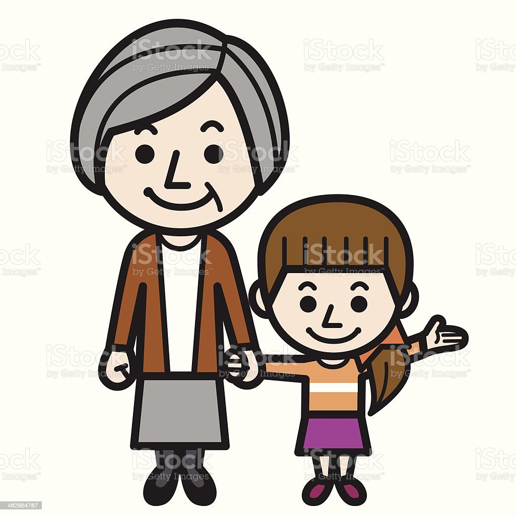 Grandmother and granddaughter royalty-free stock vector art