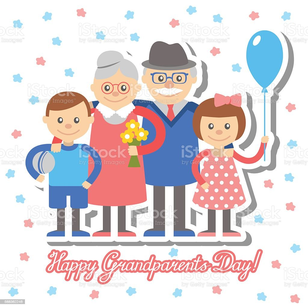 Grandmother and grandfather grandchildren greeting card for grandparents day. vector art illustration