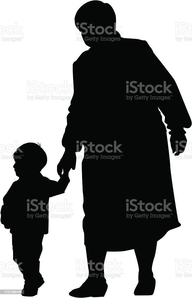 grandmother and grandson vector art illustration