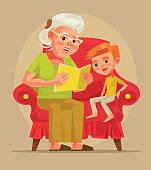 Grandmother character sit with grandson and read book story