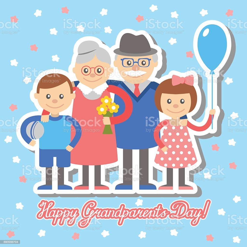 Grandmother grandfather grandchildren greeting card for grandparents day. vector art illustration