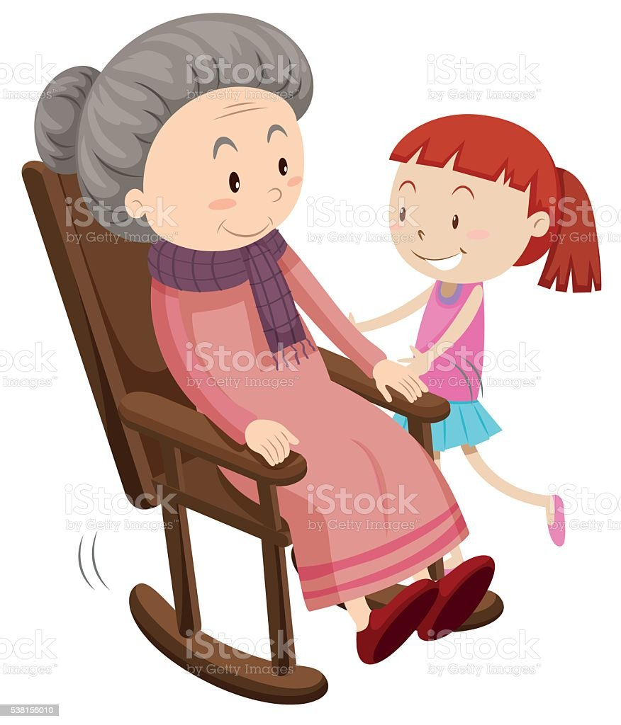 Grandmother on the rocking chair and girl vector art illustration