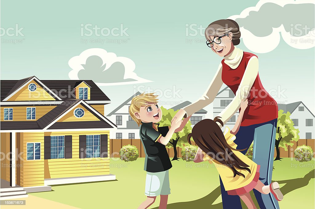 Grandmother playing with grandchildren royalty-free stock vector art
