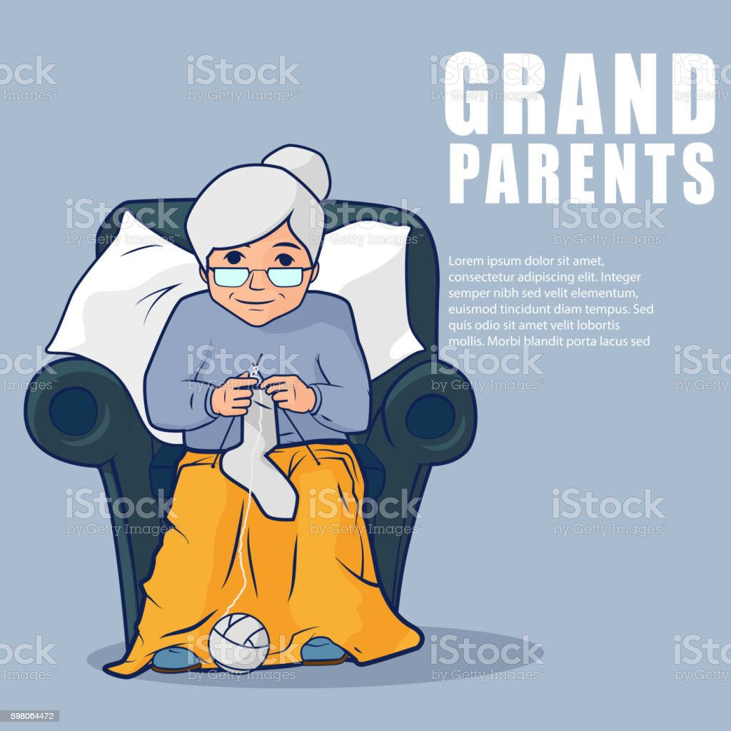 Grandmother sitting in armchair and knitting socks vector art illustration