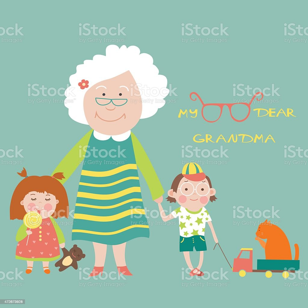 Grandmother with grandchildren vector art illustration