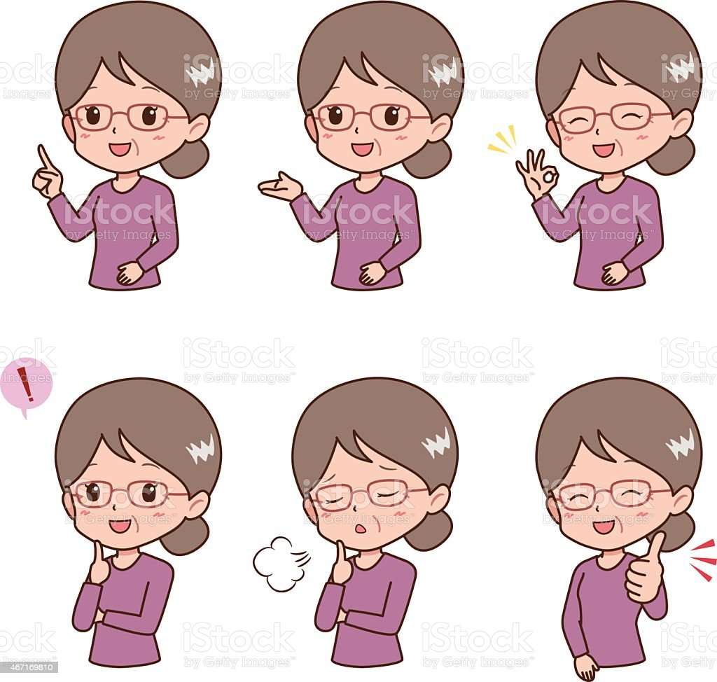 grandmother_pose vector art illustration