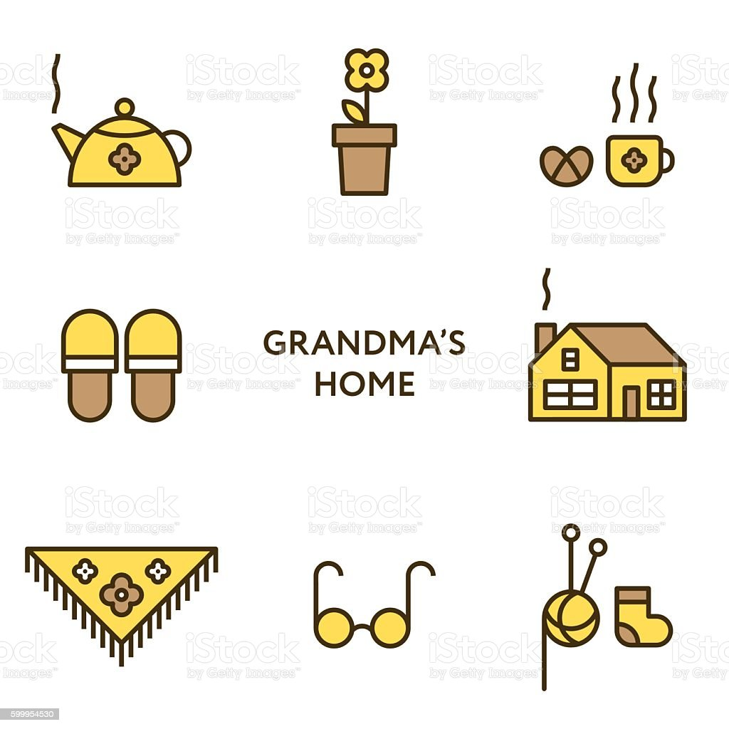 Grandmother's home. Set of flat line icons. Modern design vector art illustration