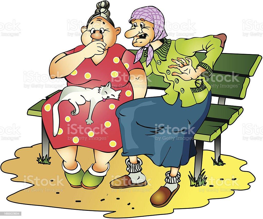 Grandmothers on a bench vector art illustration