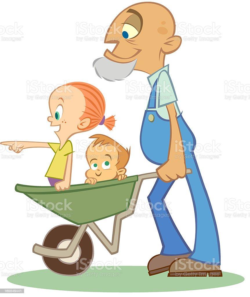 Grandpa Pushing Kids In Wheelbarrow royalty-free stock vector art
