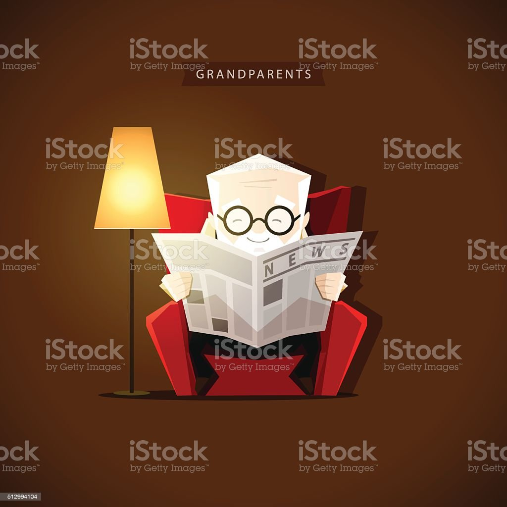Grandpa sits in his chair near floor lamp and reading vector art illustration