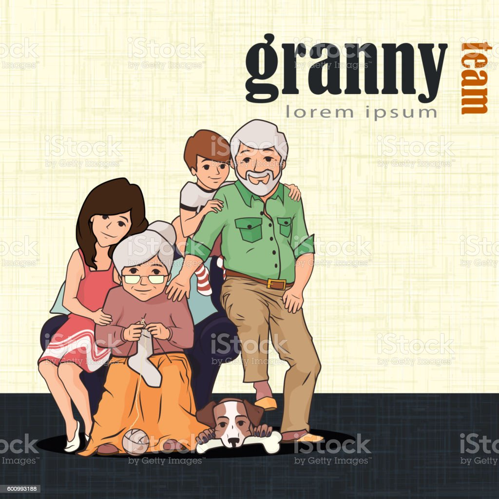 Grandparents and children sitting together with pet vector art illustration