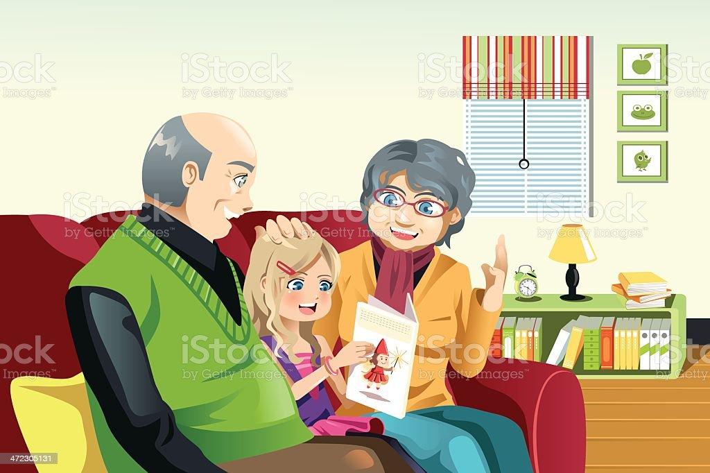 Grandparents and grandaughter reading royalty-free stock vector art
