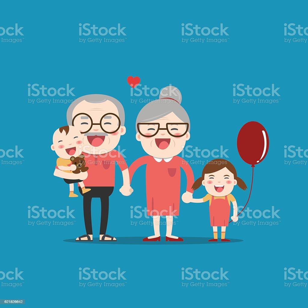 Grandparents and grandchildren. Happy grandparents vector art illustration