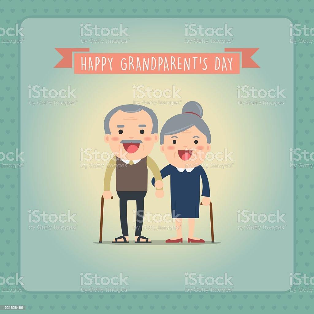 Grandparents and grandchildren. Happy grandparents. vector art illustration