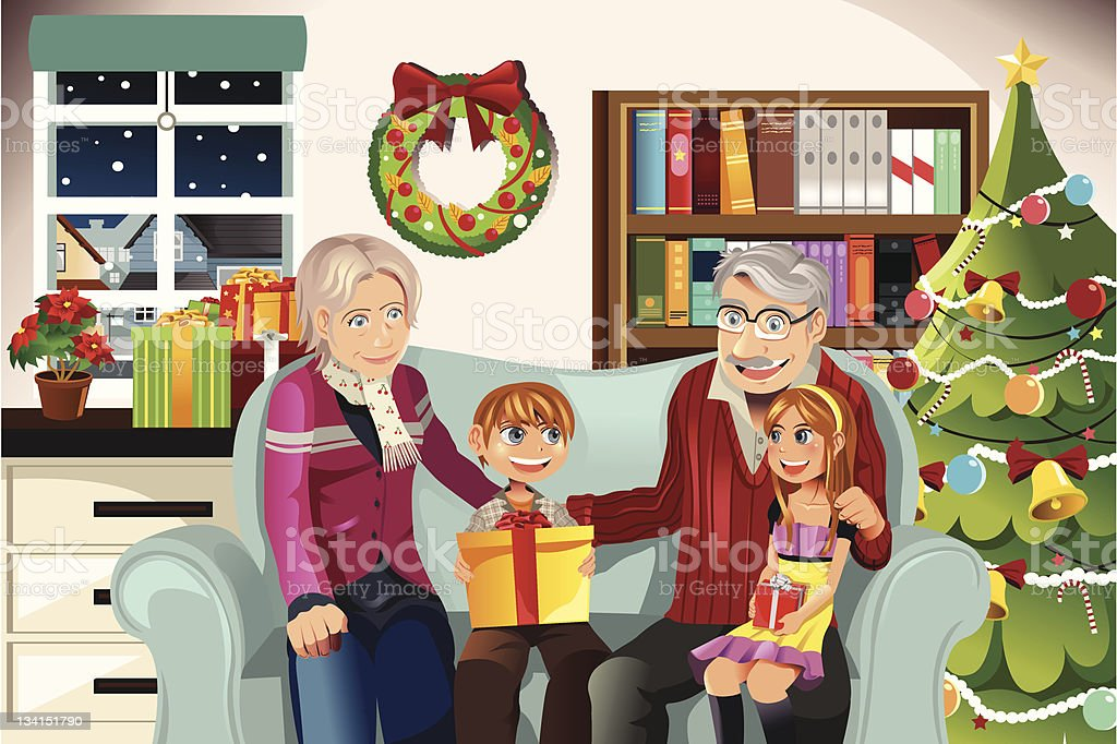 Grandparents and grandchildren on Christmas time royalty-free stock vector art