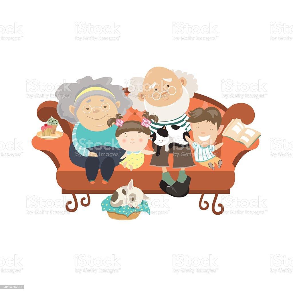 Grandparents and grandchildren vector art illustration
