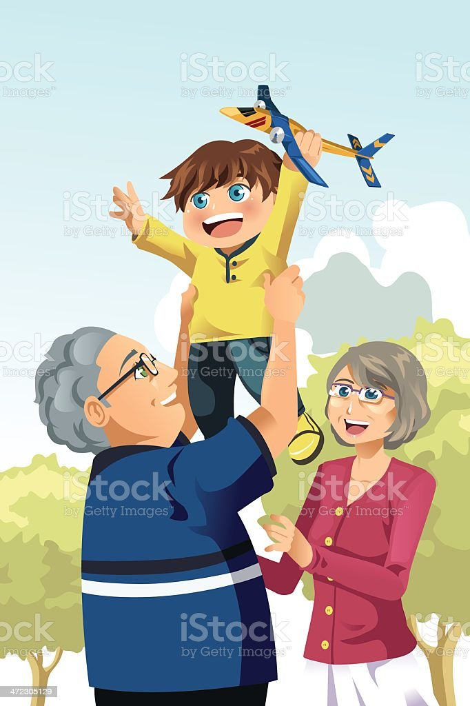Grandparents and grandson playing vector art illustration