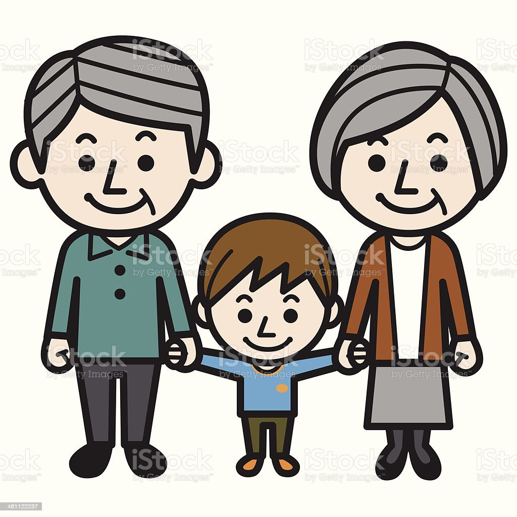 Grandparents and grandson royalty-free stock vector art