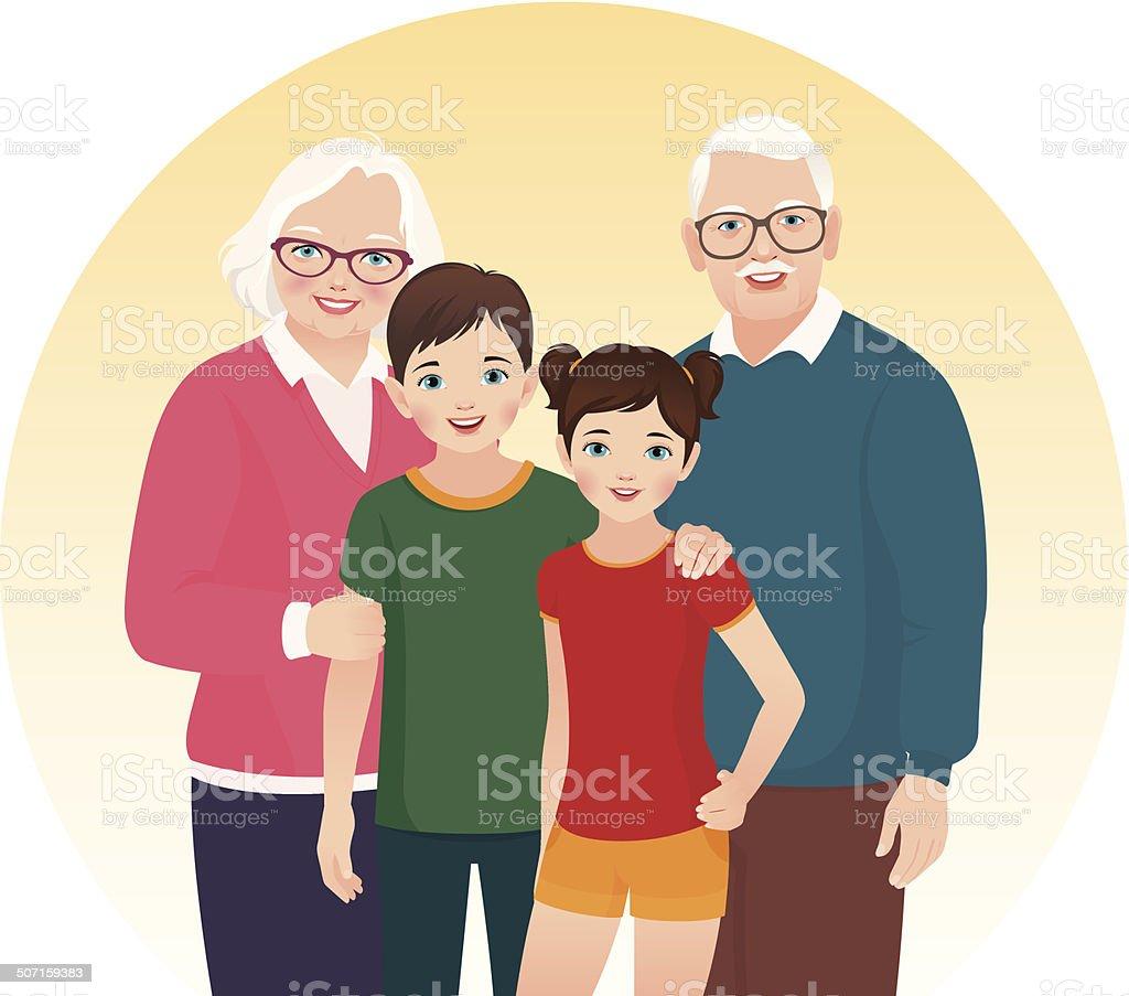 Grandparents and their grandchildren vector art illustration
