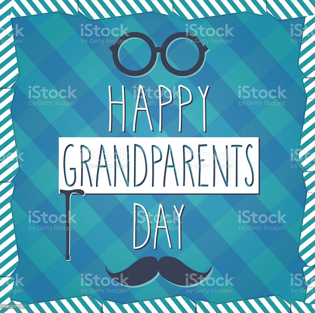 Grandparents Day blue poster. Cloth background vector art illustration