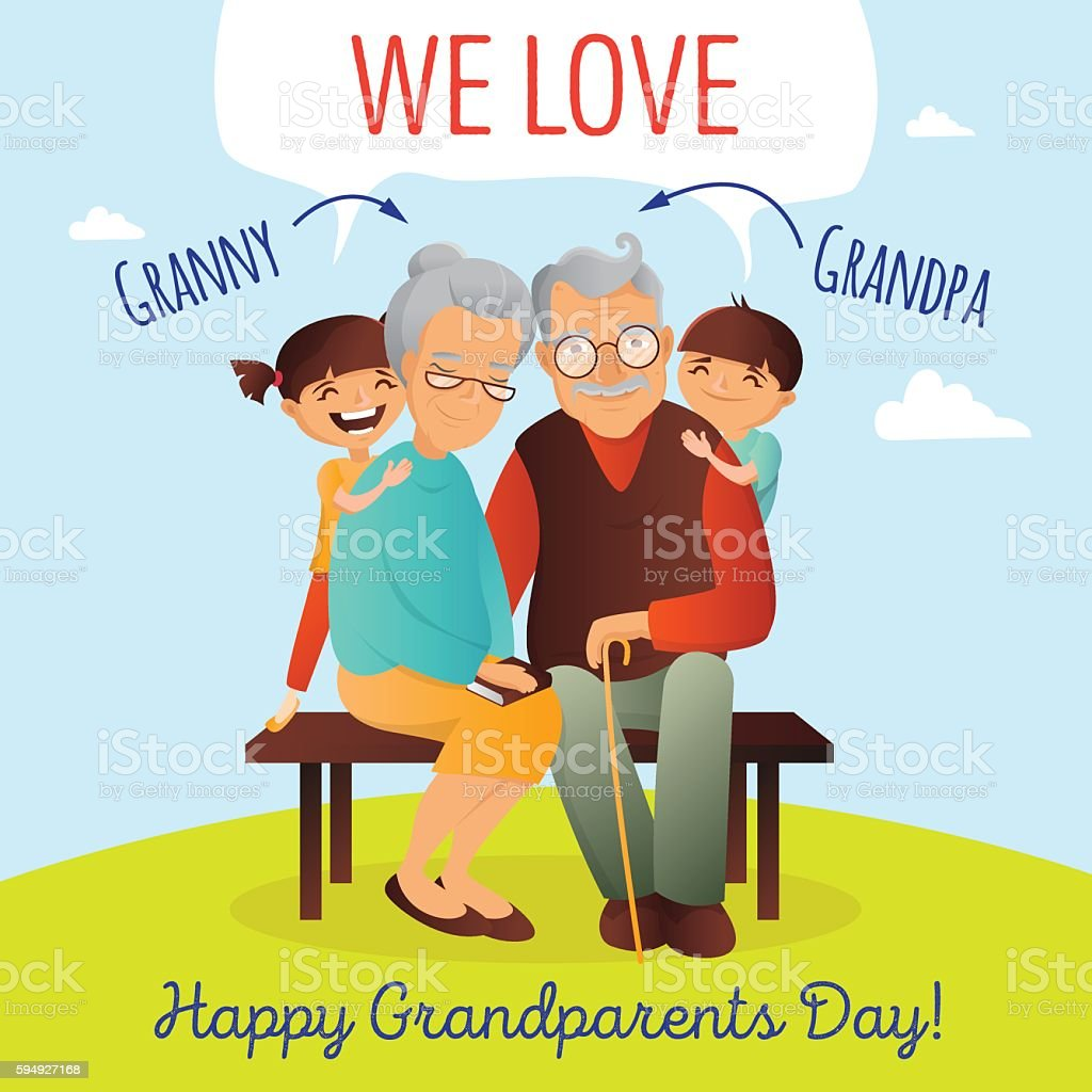 Grandparents Day vector concept. Illustration with happy family. Grandfather, grandmother vector art illustration