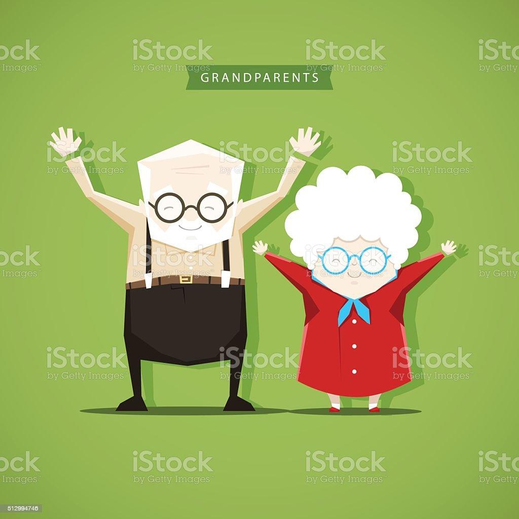 Grandparents doing morning exercises - stock vector illustration vector art illustration