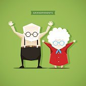 Grandparents doing morning exercises - stock vector illustration